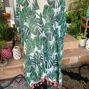 Cute Palm leaves Coral Fringe Swim Suit Cover Up